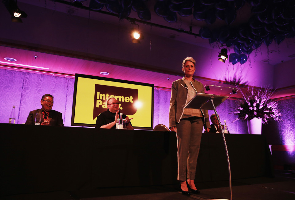 Former leader of the Alliance Party, Laila Harre speaks as leader of the Internet Party at the Langham Hotel on May 29, 2014 in Auckland, New Zealand.