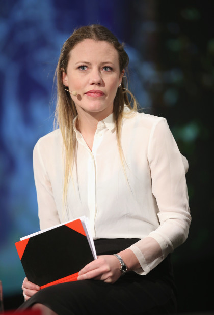 BERLIN, GERMANY - MAY 06:  British journalist Sarah Harrison, who has worked closely with Wikileaks and accompanied Edward Snowden when he flew from Hong Kong to Moscow, and who said she is currently living in Berlin because she fears persecution under Section 7 of the British legal system should she return to Britain, speaks at the 2014 re:publica conferences on digital society on May 6, 2014 in Berlin, Germany. The conference brings together bloggers, developers, human rights activists and others to discuss the course of the digital future. Re:publica will run until May 8.  (Photo by Sean Gallup/Getty Images)