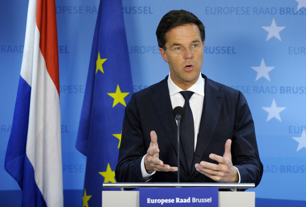 Netherlands' Prime Minister Mark Rutte is seen during a news conference at an European Union leaders summit.