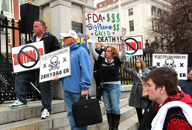 """Activists rallied Tuesday against Zohydro, a new painkiller Gov. Deval Patrick attempted to ban before being rebuffed by a federal judge. The """"Massachusetts Says No to Zohydro"""" rally included the AFL-CIO, Learn to Cope and the Massachusetts Organization for Addiction Recovery."""