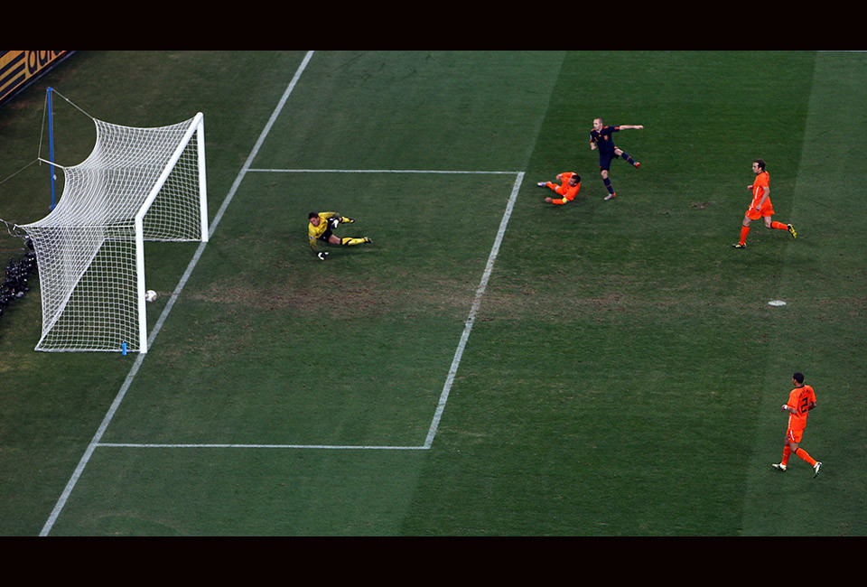 Andres Iniesta of Spain scores the winning goal during the 2010 FIFA World Cup South Africa Final match between Netherlands and Spain at Soccer City Stadium on July 11, 2010 in Johannesburg, South Africa.