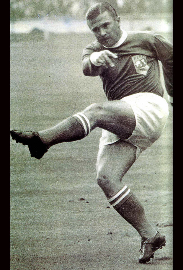 Ferenc Puskas kics the ball during a football match of the World Team. Hungarian and Real Madrid football legand, the inspiration of the 'Mighty Magyars'  national side that dominated  world football in the 1950s, died 17 November 2006 after a long illness in his 79 years old age.