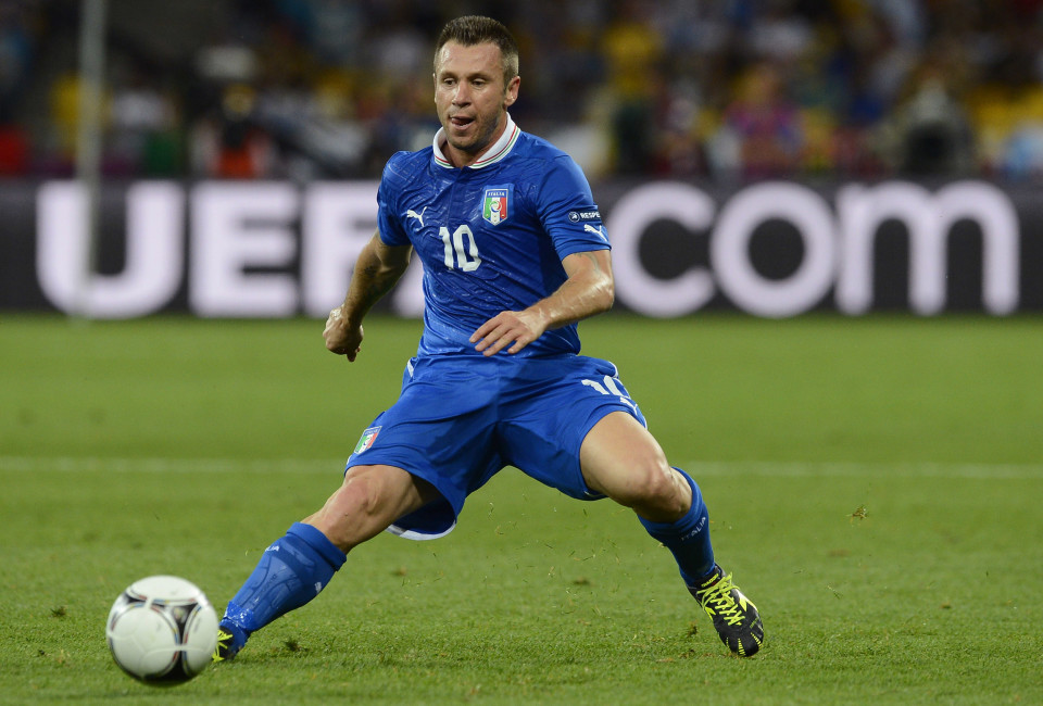 Italy's Antonio Cassano runs for the ball during their Euro 2012 quarter-final soccer match against England at Olympic Stadium in Kiev, June 24, 2012.