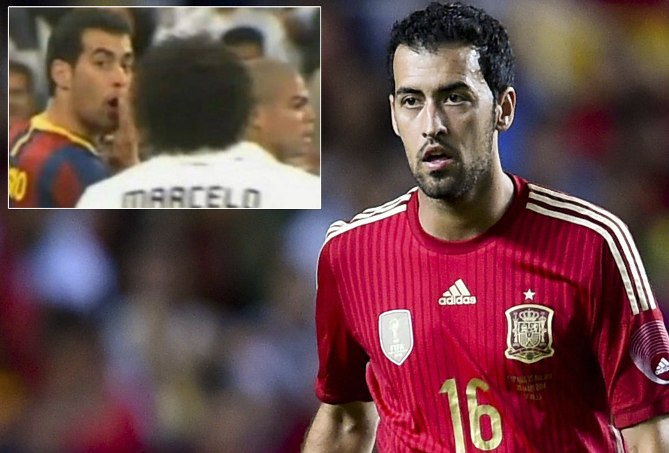 Sergi Busquets during an international friendly match between Spain and Bolivia in Seville, Spain on May 30, 2014. Busquets with Real Madrid's Marcelo (Inset)