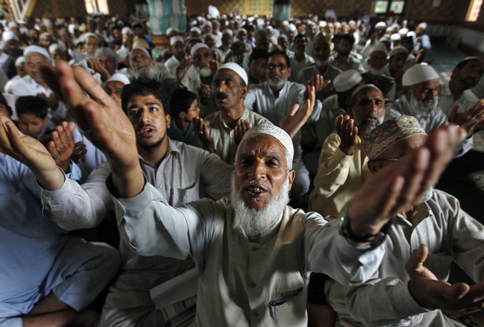 Kashmiri Muslims perform prayers inside the shrine of Sufi Saint Khawaja Naqashband during the holy month of Ramadan.