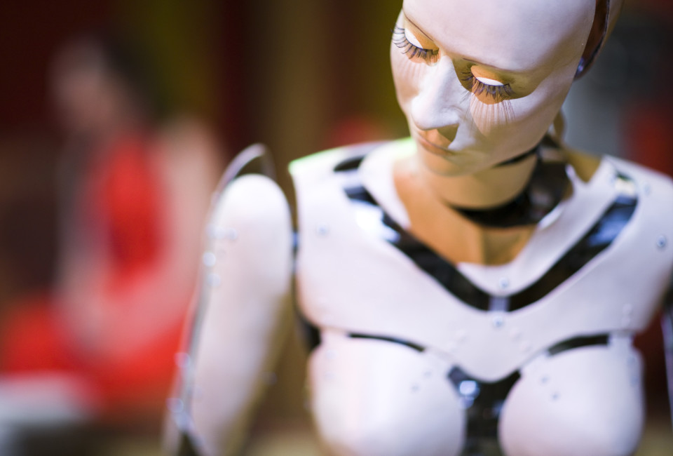 "Robot Leia is pictured during a rehearsal of the musical ""Robots"" at the Barnabe Theatre in Servion, near Lausanne."