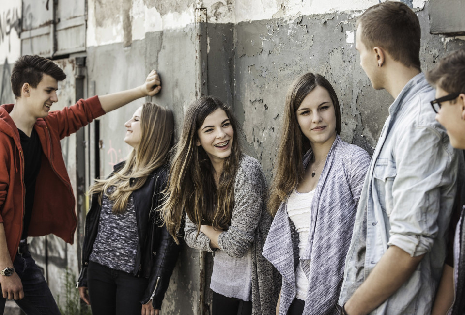 24 Apr 2014 --- Teenagers hanging out at abandoned building --- Image by © Alan Graf/Corbis