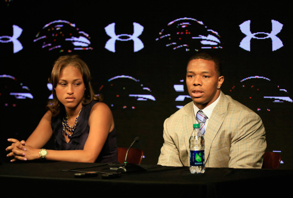 OWINGS MILLS, MD - MAY 23:  Running back Ray Rice of the Baltimore Ravens addresses a news conference with his wife Janay at the Ravens training center on May 23, 2014 in Owings Mills, Maryland. Rice spoke publicly for the first time since facing felony assault charges stemming from a February incident involving Janay at an Atlantic City casino.  (Photo by Rob Carr/Getty Images)