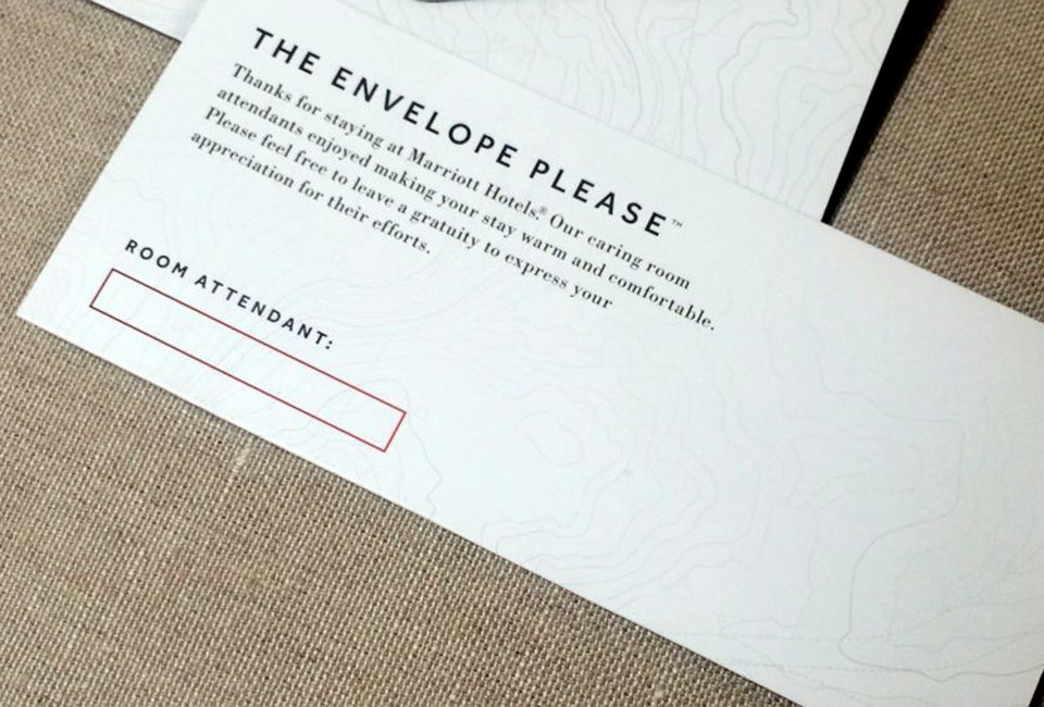 The envelope that Marriott will be placing in 160,000 hotel rooms in the U.S. and Canada.