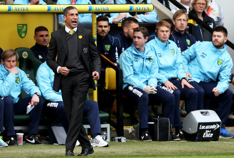 Chris Hughton the Norwich manager shouts instructions during the Barclays Premier League match between Norwich City and Sunderland at Carrow Road on March 22, 2014 in Norwich, England.