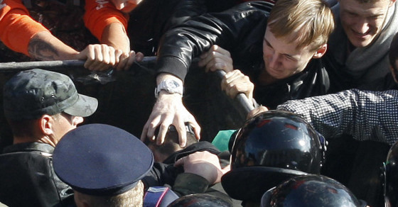 Watch Angry Ukrainian Protesters Throw a Politician in the Dumpster