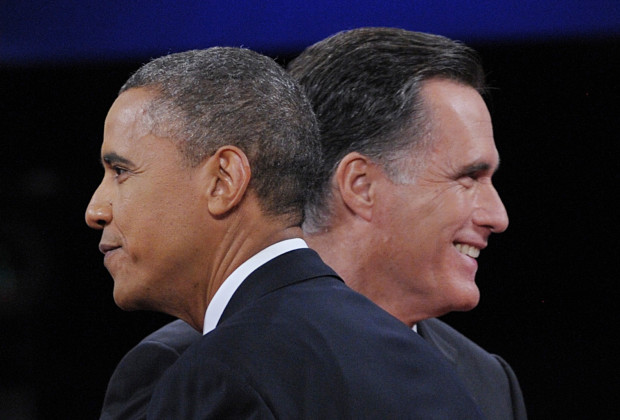 US President Barack Obama greets Republican Presidential candidate Mitt Romney at the end of the third and final presidential debate at Lynn University in Boca Raton, Florida, October 22, 2012. The showdown focusing on foreign policy is being held in the crucial toss-up state of Florida just 15 days before the election and promises to be among the most watched 90 minutes of the entire 2012 campaign.
