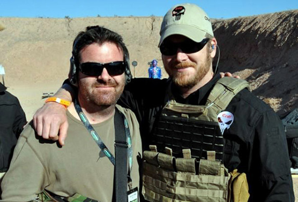 Brandon Webb, (right), poses with his friend Navy SEAL Chris Kyle, author of American Sniper.