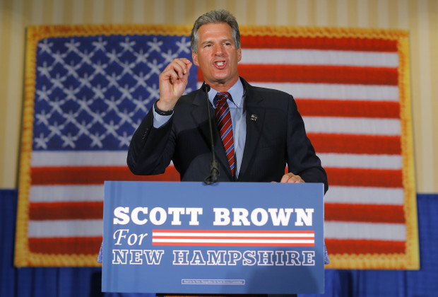 Republican candidate for the U.S. Senate Scott Brown speaks to supporters after winning the Republican primary in Concord, New Hampshire September 9, 2014.  Former Massachusetts U.S. Senator Brown won the nod from New Hampshire Republican voters on Tuesday to take on Democratic incumbent Jeanne Shaheen in November, in a race his party sees as a chance to gain control of the Senate.      REUTERS/Brian Snyder    (UNITED STATES)     REUTERS/Brian Snyder    (UNITED STATES - Tags: POLITICS ELECTIONS) - RTR45LQF
