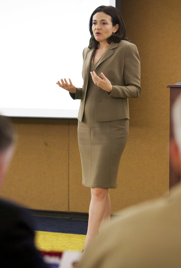 The chief operating officer of Facebook, Sheryl Sandberg, meets with United States Marine Corps top leaders during the Executive Off-Site Symposium at the Washngton Navy Yard, in Washington, D.C., on July 24, 2014. The Commandant, Assistant Commandant, and Sergeant Major of the Marine Corps were a few of these top leaders.(U.S. Marine Corps photo by Sgt. Mallory S. VanderSchans)(RELEASED)