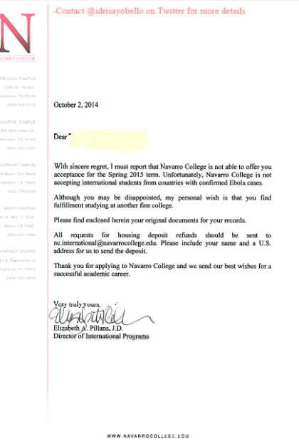 College Allegedly Rejects Nigerian Student Because Of