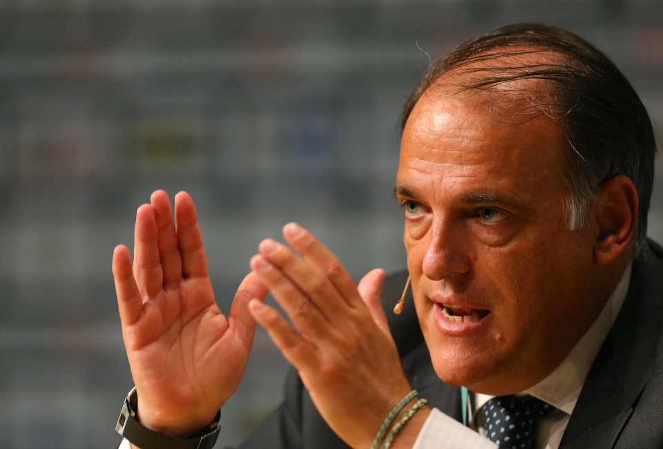 Javier Tebas, President of Liga de Futbol Profesional during the Soccerex European Forum Conference Programme on September 10, 2014 in Manchester, England.