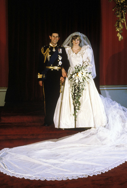Crowds of 600,000 people filled the streets of London to catch a glimpse of Prince Charles and Lady Diana Spencer on their wedding day. The couple were married at St Paul's Cathedral before an invited congregation of 3,500 and an estimated global TV audience of 750 million - making it the most popular programme ever broadcast.