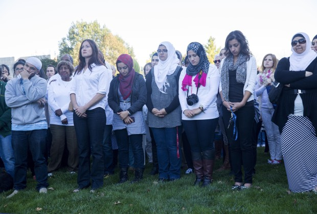 INDIANAPOLIS, IN - OCTOBER 8:  Attendees look on during a vigil for aid worker Peter Kassig at Butler University October 8, 2014 in Indianapolis, Indiana. Kassig has been held by ISIS since being captured in Syria in October of 2013. (Photo by Aaron P. Bernstein/Getty Images)
