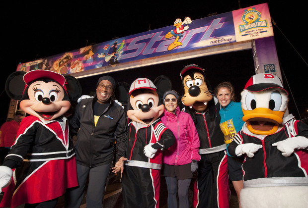 "LAKE BUENA VISTA, FL - JANUARY 8:  In this handout image provided by Disney, 'Today Show' hosts (L-R) Al Roker, Meredith Vieira and Natalie Morales pose with Disney characters at the start line for the Walt Disney World Half Marathon on January 8, 2011 in Lake Buena Vista, Floraida. The trio ran in the annual 13.1-mile race, one of the ""runDisney"" endurance events. On January 9, 2011, more than 17,000 runners will line up to compete in the Walt Disney World Marathon. (Photo by Matt Stroshane/Disney via Getty Images) *** Local Caption *** Al Roker;Meredith Vieira;Natalie Morales"