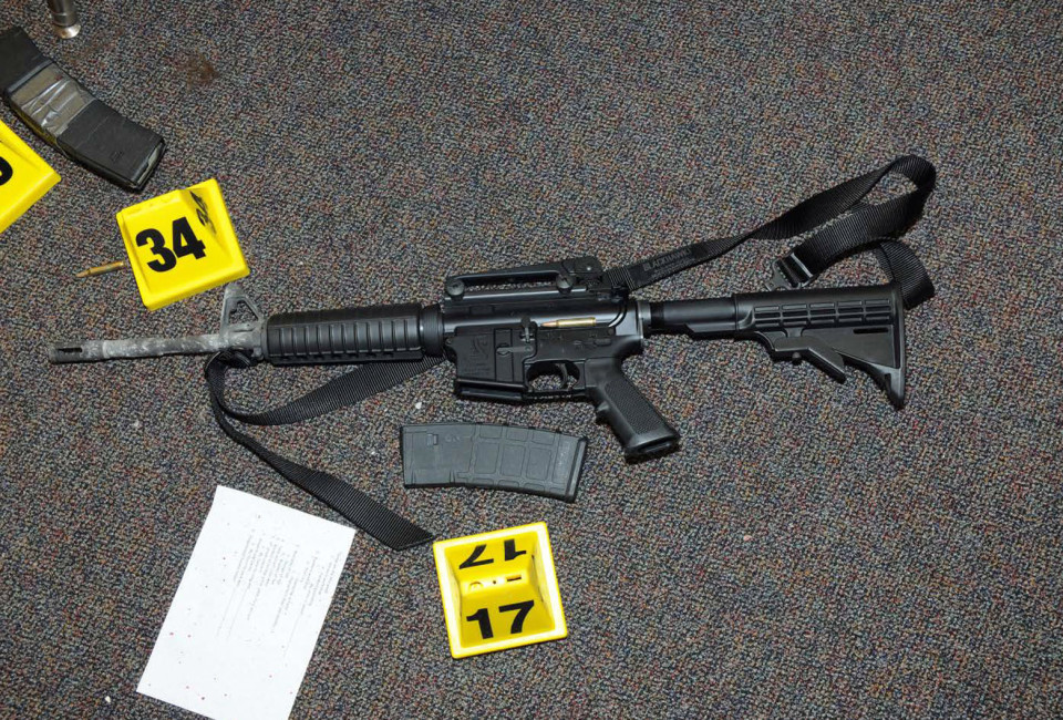 A gun that was found at Sandy Hook Elementary School in Newtown, Connecticut, is pictured in this evidence photo released by the Connecticut State Police, December 27, 2013. Connecticut state police released a trove of documents and video on Friday tied to their investigation of the massacre at Sandy Hook Elementary School last year that killed 20 children and six adults. REUTERS/Connecticut State Police/Handout (UNITED STATES - Tags: CRIME LAW) THIS IMAGE HAS BEEN SUPPLIED BY A THIRD PARTY. IT IS DISTRIBUTED, EXACTLY AS RECEIVED BY REUTERS, AS A SERVICE TO CLIENTS. FOR EDITORIAL USE ONLY. NOT FOR SALE FOR MARKETING OR ADVERTISING CAMPAIGNS - RTX16V8W