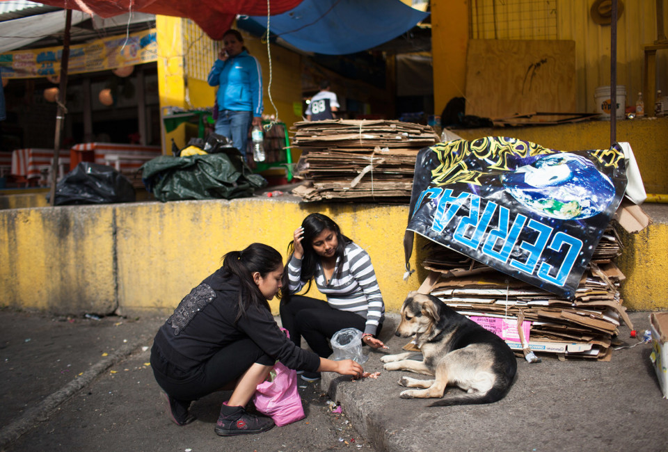 Diana Albarrán (right) and another volunteer feed a stray dog at the market behind the basilica