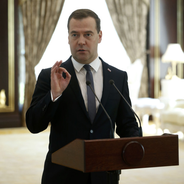 Russian Prime Minister Dmitry Medvedev addresses the media during the 9th East Asia Summit (EAS) in Naypyitaw November 13, 2014. Medvedev was quoted as saying on Thursday sanctions must be abandoned to overcome problems in relations with the West after meeting U.S. President Barack Obama on the sidelines of a meeting in Asia. REUTERS/Dmitry Astakhov/RIA Novosti/Pool (MYANMAR  - Tags: POLITICS) ATTENTION EDITORS - THIS IMAGE HAS BEEN SUPPLIED BY A THIRD PARTY. IT IS DISTRIBUTED, EXACTLY AS RECEIVED BY REUTERS, AS A SERVICE TO CLIENTS - RTR4DYOL