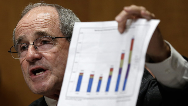 """WASHINGTON, DC - JULY 17:  Sen. James Risch (R-ID) questions witnesses while holding a chart showing increased annual apprehensions of unaccompanied immigrant minors during a hearing of the Senate Foreign Relations Committee July 17, 2014 in Washington, DC. The committee heard testimony on """"Dangerous Passage: Central America In Crisis And the Exodus of Unacompanied Minors.""""  (Photo by Win McNamee/Getty Images)"""