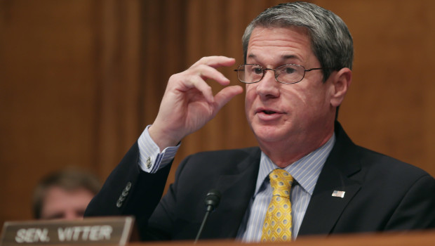 WASHINGTON, DC - JANUARY 30:  Senate Environment and Public Works Committee ranking member Sen. David Vitter (R-LA) questions members of the U.S. Nuclear Regulatory Commission during an oversight hearing in the Dirksen Senate Office Building on Capitol Hill January 30, 2014 in Washington, DC. The commissioiners answered senators' questions about their transparency, travel budgets, the continued clean up of the Fukushima disaster in Japan and other related issues.  (Photo by Chip Somodevilla/Getty Images)