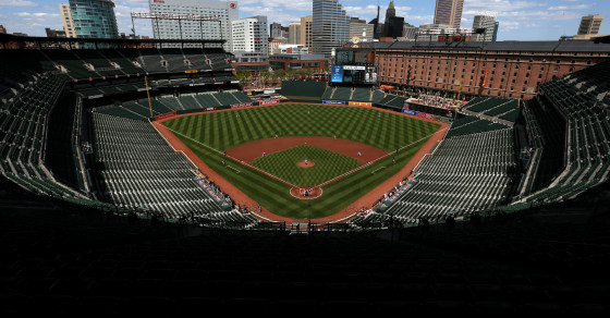 """""""Check-Ins"""" At Baltimore's Empty Camden Yards Top 200 A Minute"""