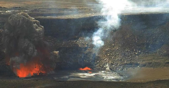 Falling Rocks Cause Epic Explosion Of Molten Lava