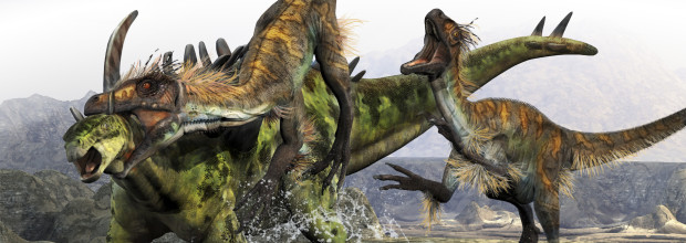 A Utahraptor manages to slip through a Gigantspinosauruss armor with a throat kill.