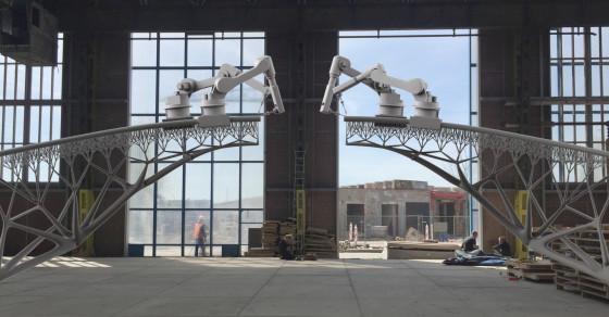 Watch These Robots 3-D Print A Steel Bridge