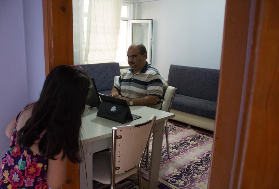 Jamal Mamos earns some money through English teaching and translation gigs.