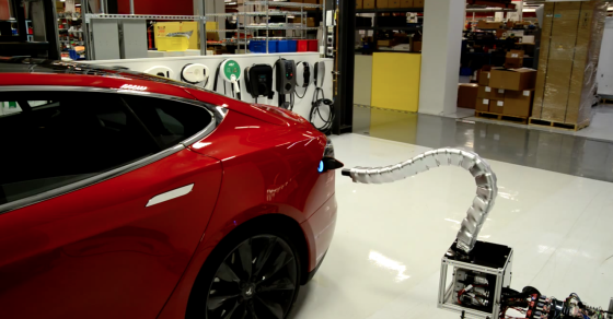Tesla Unveils A Snake-Like Charger For Its Cars