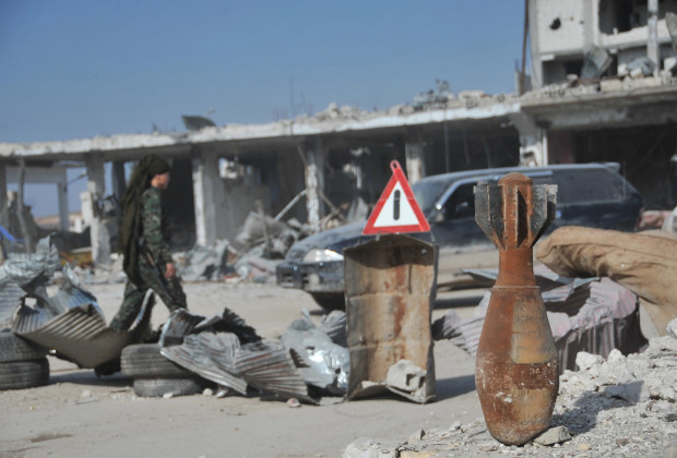 KOBANI, SYRIA - JANUARY 27: A used weapon is seen in Kobani, Syria on January 27, 2015 after it has been freed from Islamic State of Iraq and the Levant (ISIL). (Photo by Rauf Maltas/Anadolu Agency/Getty Images)