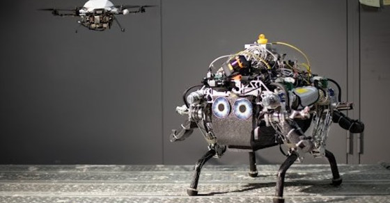 Drone And Robot Tag Team To Cross Tough Terrain