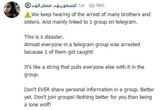 ISIS telegram warning