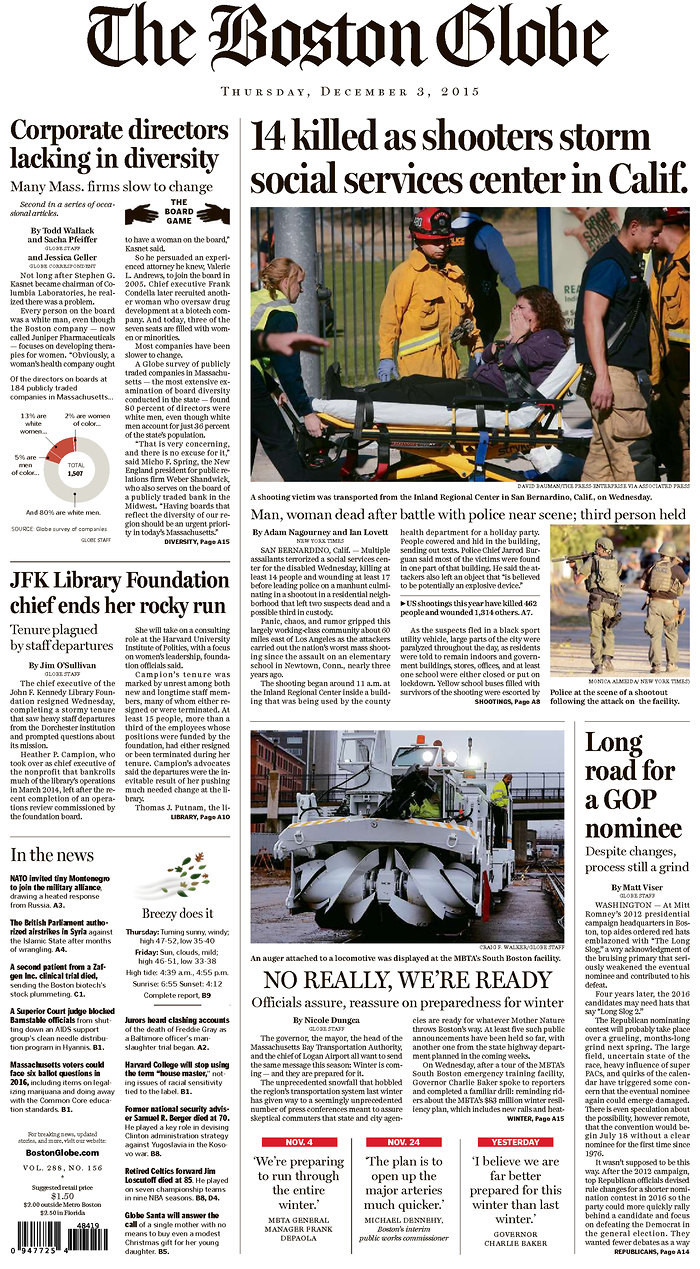 boston globe cover