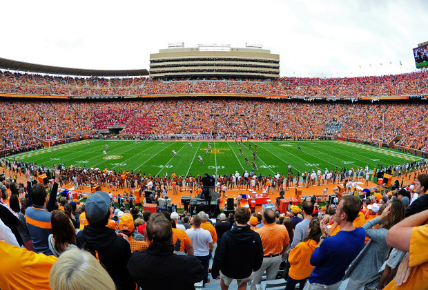 KNOXVILLE, TN - OCTOBER 10: A general view of Neyland Stadium during the kickoff of the game between the Tennessee Volunteers and the Georgia Bulldogs on October 10, 2015 in Knoxville, Tennessee. Photo by Scott Cunningham/Getty Images)