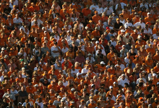 PASADENA, CA - SEPTEMBER 01: University of Tennessee Volunteers fans watch the game against the UCLA Bruins on September 1, 2008 at the Rose Bowl in Pasadena, California.  UCLA won 27-24 in the first overtime.  (Photo by Stephen Dunn/Getty Images)