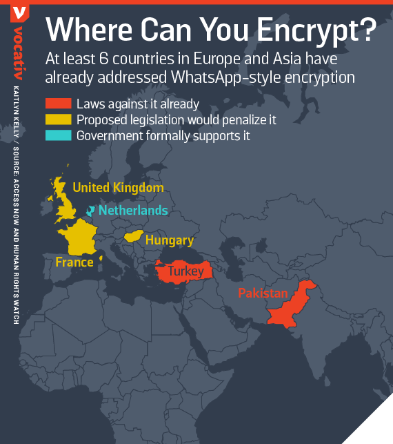 At least 6 countries in Europe and Asia have already addressed WhatsApp-style encryption