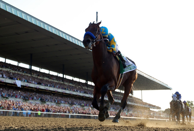 ELMONT, NY - JUNE 06:  American Pharoah #5, ridden by Victor Espinoza, comes down the final stretch ahead of the field on his way to winning the 147th running of the Belmont Stakes at Belmont Park on June 6, 2015 in Elmont, New York.  (Photo by Rob Carr/Getty Images)