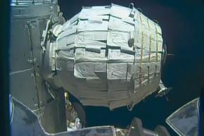 Astronauts Peek Inside Inflatable Space Habitat