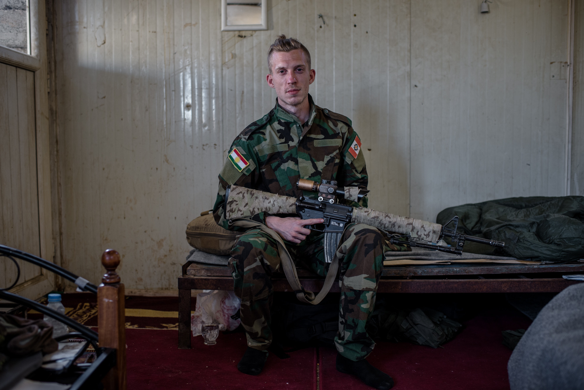 Portrait: Jesper Söder, commander of the Scandinavian Peshmerga Unit, at the Batewa frontline west of Kirkuk, Iraq.