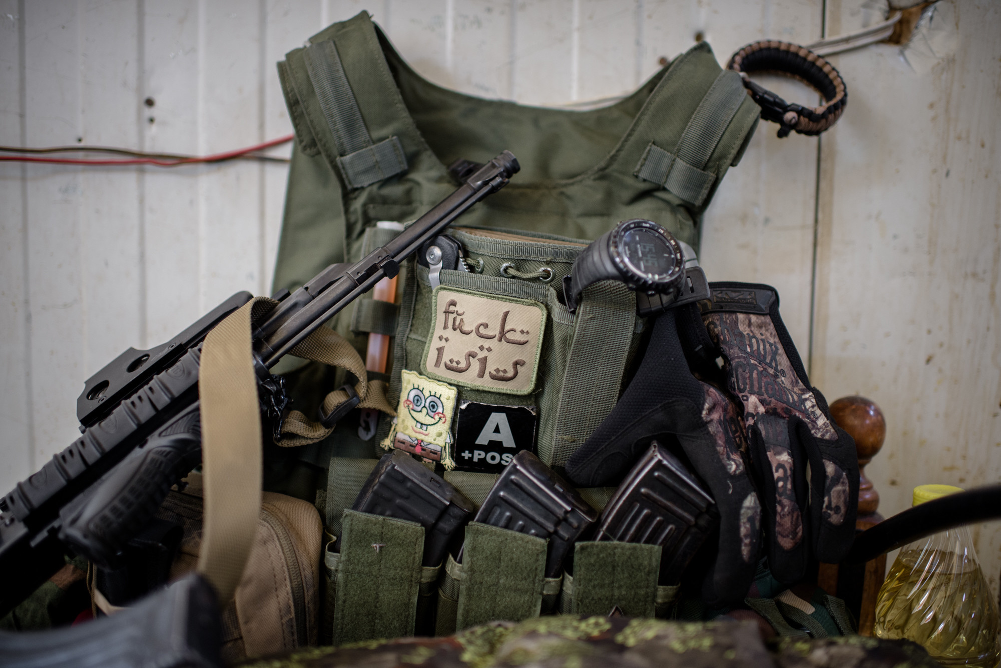 A a tactical vest inside the Scandinavian Peshmerga Unit barracks at the Batewa frontline west of Kirkuk, Iraq.
