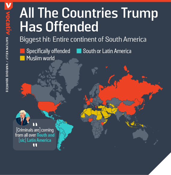 All the countries Trump has offended