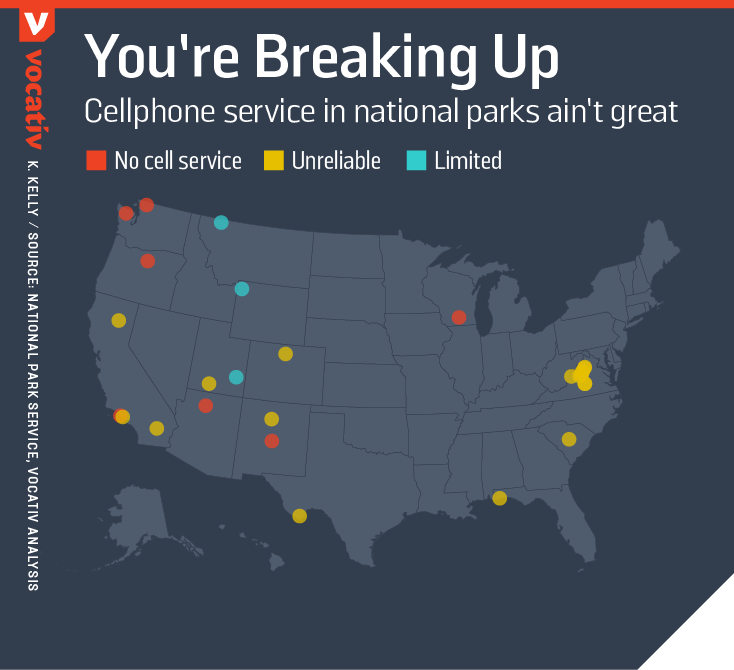 Cellphone service in national parks ain't great