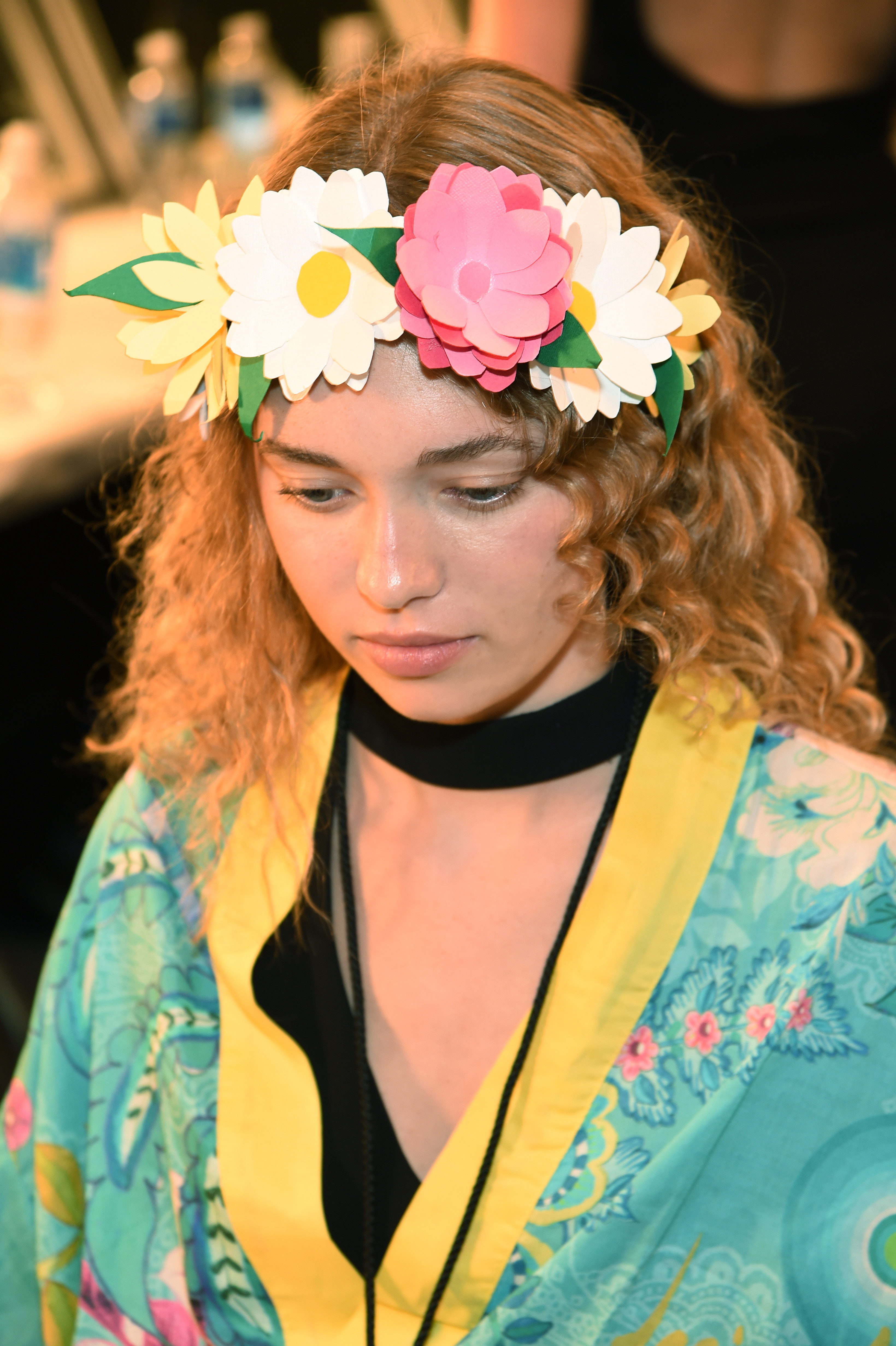 NEW YORK, NY - SEPTEMBER 08:  A model has their hair done backstage at the Desigual fashion show during New York Fashion Week: The Shows September 2016 at The Arc, Skylight at Moynihan Station on September 8, 2016 in New York City.  (Photo by Larry Busacca/Getty Images for New York Fashion Week: The Shows)