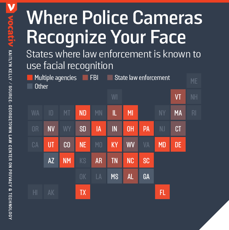 States where law enforcement is known to use facial recognition